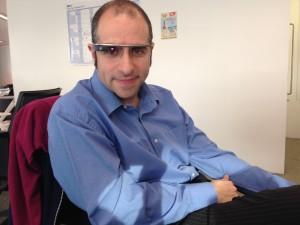 An unflattering photo wearing Google Glass