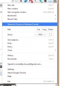 How to relaunch your Chrome browser in Windows 8 mode