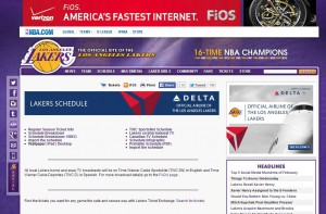 LA Lakers digital sponsorship in action: The Hublot watch in the top right is a sponsor, Verizon is a banner ad