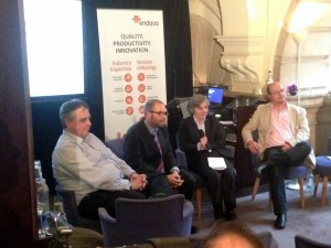 Panel discussion at the Endava event (from left-right: Ian Sayers from Zapp, Bradley Howard from Endava, Chris Cooper-Bland from Endava and Nick Telford-Reed from WorldPay)