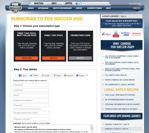 Possibly the easiest signup form, presented by Fox Soccer