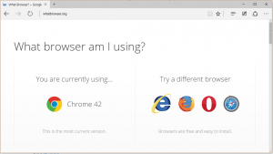The new Microsoft Edge browser. Looks just like IE, and even has a similar logo. But apparently it's not IE