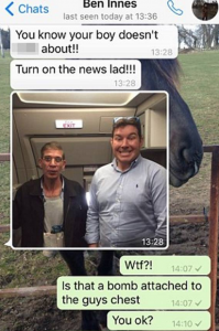 "The original WhatsApp conversation with Ben Innes' ""selfie"""