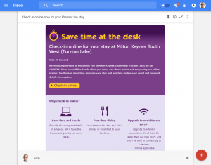 PremierInn Check In email - a good example of customer self-service