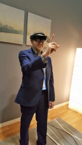 Although it looks like I'm telling someone off, I was actually moving a planet around using Hololens