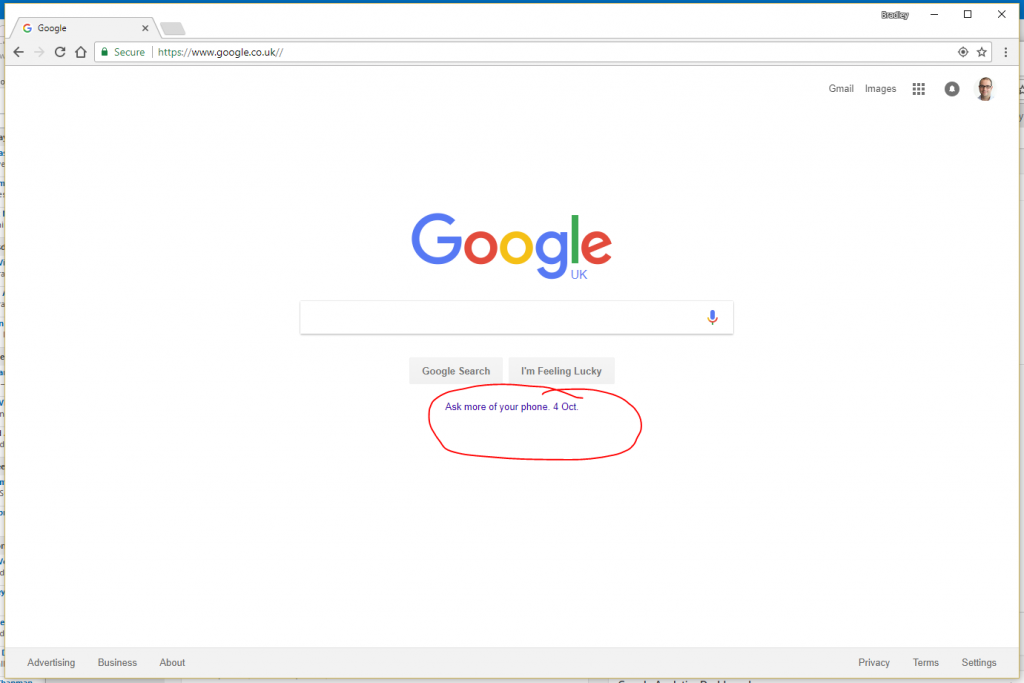 Google homepage with advertising bit circled