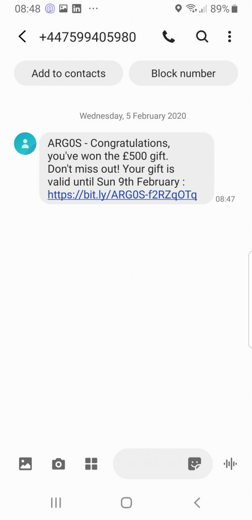 Phishing email example from Argos