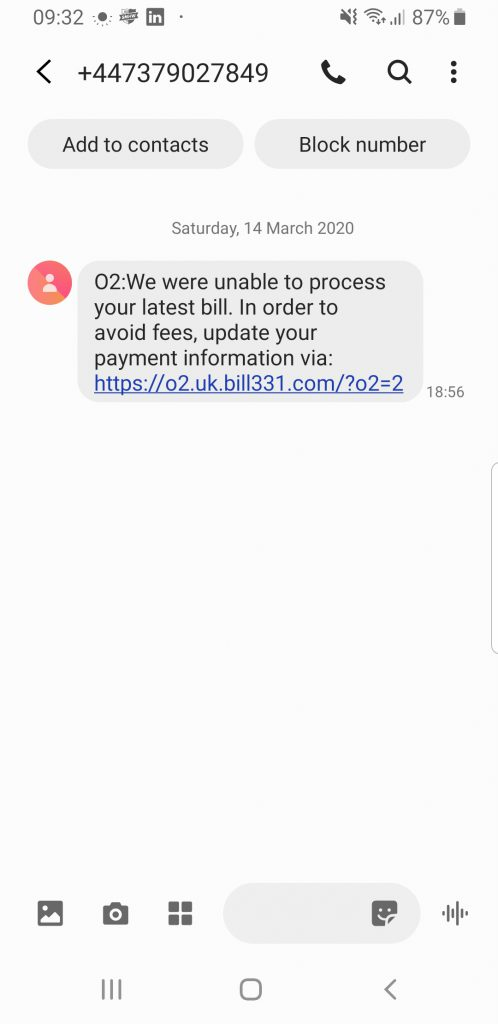 Phishing email example from O2 billing