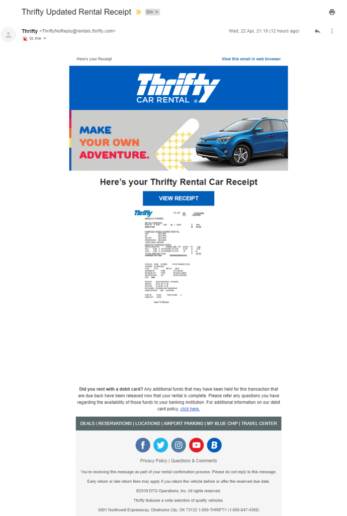 Phishing email example from Thrifty car rental